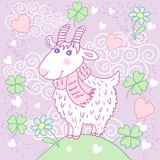 Cute goat on a meadow. Greeting card with hearts, clover and flowers Royalty Free Stock Photography