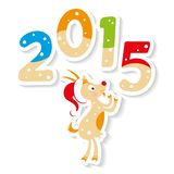 Cute goat with 2015 number. Happy new 2015 year postcard with cute Goat Stock Photo