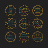 Cute golden Christmas and Holiday line tags set Royalty Free Stock Photos