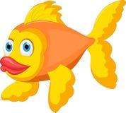 Cute golden fish cartoon. Illustration of Cute golden fish cartoon Stock Images