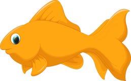 Cute golden fish cartoon. Illustration of cute golden fish bird cartoon isolated on white Stock Photos