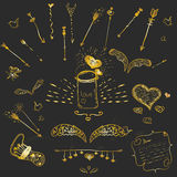 Cute golden  hand-drown hipster set of love elements - wings, arrows, frames for your design Stock Images