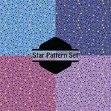 Cute golden stars pattern set in pink, purple and blue Stock Photos