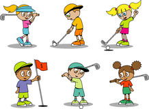 Cute Golf Kids Royalty Free Stock Photo