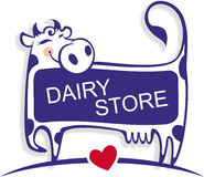 Cute good cow as logo element of dairy store. Royalty Free Stock Images