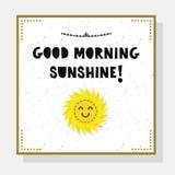 Cute Good Morning Sunshine greeting card with sun emoji Royalty Free Stock Photo