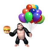 Cute Gorilla cartoon character with balloon and burger. 3d rendered illustration of Gorilla cartoon character with balloon and burger Stock Image