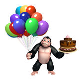 Cute Gorilla cartoon character with balloon and cake. 3d rendered illustration of Gorilla cartoon character with balloon and cake Stock Photography