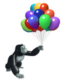 Cute Gorilla cartoon character with balloon. 3d rendered illustration of Gorilla cartoon character with balloon Royalty Free Stock Photography