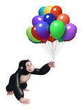 Cute Gorilla cartoon character with balloon. 3d rendered illustration of Gorilla cartoon character with balloon Royalty Free Stock Image