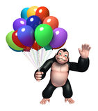 Cute Gorilla cartoon character with balloon Royalty Free Stock Images