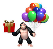 Cute Gorilla cartoon character with balloon and gift box. 3d rendered illustration of Gorilla cartoon character with balloon and gift box Stock Photography