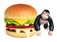 Cute Gorilla cartoon character with burger vector illustration