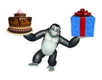 Cute Gorilla cartoon character with cake and gift box Stock Images