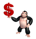 Cute Gorilla cartoon character with doller sign Stock Image
