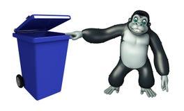 Cute Gorilla cartoon character with dustbin Stock Photo