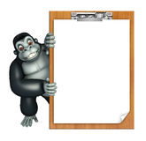 Cute Gorilla cartoon character with exam pad Stock Image
