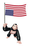 Cute Gorilla cartoon character with flag. 3d rendered illustration of Gorilla cartoon character with flag Royalty Free Stock Images