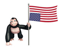 Cute Gorilla cartoon character with flag. 3d rendered illustration of Gorilla cartoon character with flag Royalty Free Stock Photos