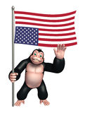Cute Gorilla cartoon character with flag. 3d rendered illustration of Gorilla cartoon character with flag Stock Photo