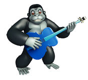 Cute Gorilla cartoon character with guiter Stock Image