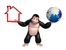 Cute Gorilla cartoon character with home sign and earth Royalty Free Stock Images