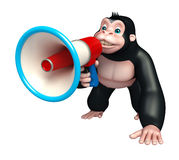 Cute Gorilla cartoon character with loudspeaker Stock Photography