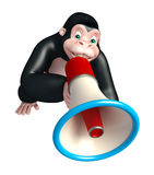 Cute Gorilla cartoon character with loudspeaker Royalty Free Stock Photos