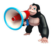 Cute Gorilla cartoon character with loudspeaker Royalty Free Stock Images