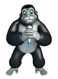 Cute Gorilla cartoon character with mike Royalty Free Stock Photo