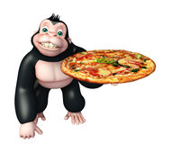 Cute Gorilla cartoon character with pizza Royalty Free Stock Photography