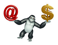 Cute  Gorilla cartoon character with at the rate sign and doller Stock Image