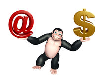 Cute  Gorilla cartoon character with at the rate sign and doller Royalty Free Stock Photography