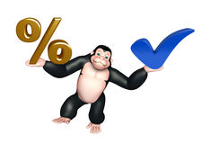 Cute Gorilla cartoon character with right sign and percentage si Royalty Free Stock Photos