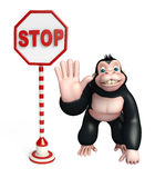 Cute Gorilla cartoon character with stop board Royalty Free Stock Images