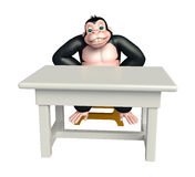 Cute Gorilla cartoon character with table and chair Stock Photo