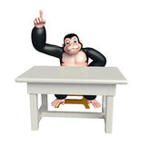 Cute Gorilla cartoon character with table and chair Stock Photos