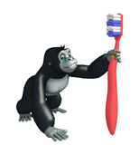 Cute Gorilla cartoon character with tooth brush Stock Images