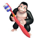 Cute Gorilla cartoon character with tooth brush Stock Image