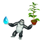 Cute Gorilla cartoon character with water drop and plant Royalty Free Stock Image