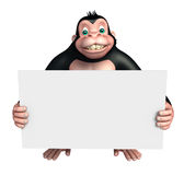 Cute Gorilla cartoon character with white board Stock Image