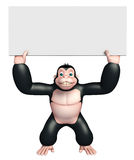 Cute Gorilla cartoon character with white board Royalty Free Stock Images