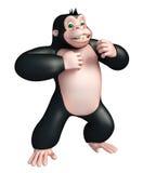 Cute Gorilla funny cartoon character Stock Image