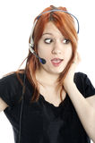 Cute, Gossiping Receptionist close-up Stock Image