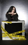 Cute goth on Television Stock Images