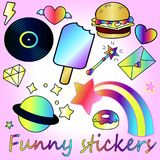 Cute gradient stickers - trend of the season stock illustration