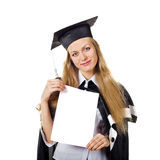 Cute Graduate with Certificate Stock Image