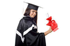 Cute Graduate with Certificate Stock Photos