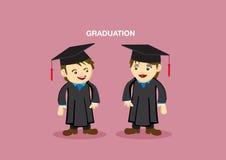 Cute Graduation Couple Mascot Vector Illustration Royalty Free Stock Photo