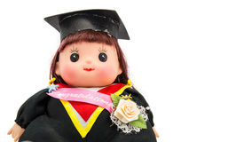 Cute graduation girl. On white backgrounf Royalty Free Stock Image